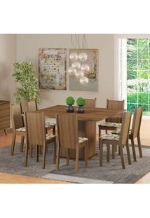 Conjunto De Mesa Com 8 Cadeiras Clarice Rustic E Lírio Bege