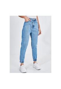 Calça Mom Jogger Em Jeans Médio