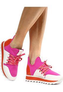 Tênis Zatz Jogging Neoprene Feminino - Feminino-Pink+Laranja