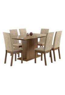 Conjunto Sala De Jantar Madesa Moscou Mesa Tampo De Vidro Com 6 Cadeiras Rustic/Crema/Imperial Rustic/Crema/Imperial