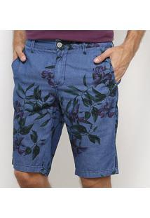 Bermuda Slim Forum Floral Estonada Masculina - Masculino-Azul