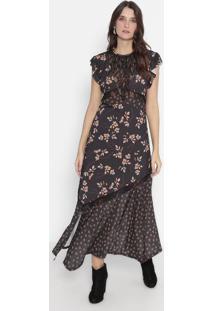 Vestido Mídi Com Renda - Preto & Rosa - Wool Linewool Line