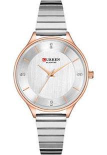 Relógio Curren Analógico C9041L Feminino - Feminino-Prata