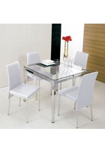 Conjunto De Mesa Com 4 Cadeiras Bia Branco