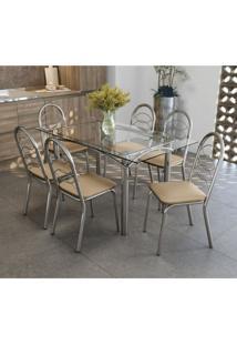 Conjunto De Mesa Tampo Vidro Elba Com 6 Cadeiras Holanda Crome Kappesberg Cromado/Nude