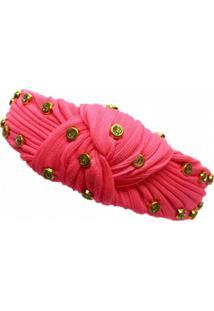 Tiara Narcizza Turbante Tecido Neon Rosa Com Ponto De Luz - Tricae