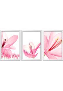 Quadro Oppen House 60X120Cm Flores Abstrato Transparentes Moldura Branca Estilo Raio-X Decorativo Interiores Mod:Oh0011