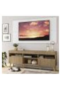 "Rack Com Painel Tv 65"" Londres Multimóveis Pés Retrô E 2 Portas Rustic/Branco/Natural"