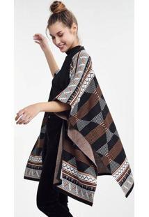 6aba6fbc1 Casaco Tipo Kimono Feminino Em Tricô Étnico