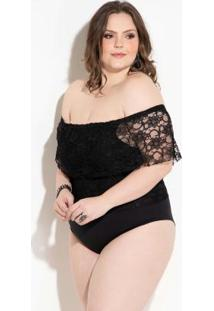 Body Ciganinha Preto Em Renda Plus Size Quintess