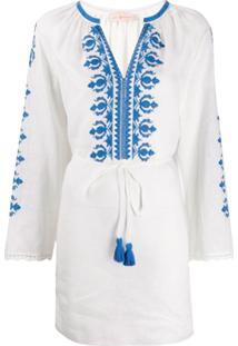 Tory Burch Tassel-Detail Embroidered Mini Dress - Branco