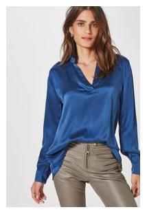 Camisa Seda Polo Fabiola Cetim Azul Nice