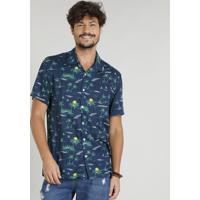 Camisa Masculina Estampada Tropical Manga Curta Gola Esporte Azul Marinho 9050d0cc515