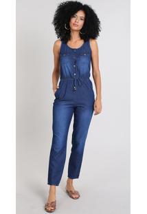 Macacão Jeans Feminino Com Botões & Bolsos Azul Médio