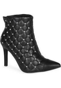 Ankle Boots Feminina Spikes Preto Preto