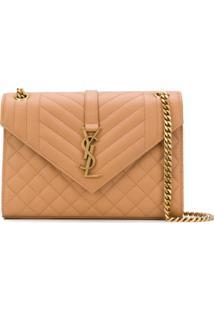 Saint Laurent Envelope Quilted Shoulder Bag - Marrom