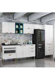 Cozinha Completa 9 Peças Americana Multimóveis 5659Mf Branco/Verde