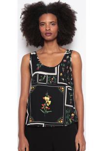 Blusa Floral Com Linho-Preta & Verdeosklen