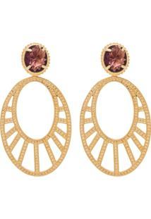 Brinco Arabesco Oval E Cristal - Feminino-Dourado