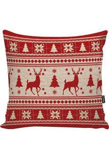 Capa Para Almofada Xmas Deer- Vermelha & Bege- 45X45Stm Home