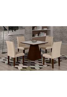 Conjunto De Mesa De Jantar Luna Com Vidro E 4 Cadeiras Ane Iii Veludo Castor E Branco