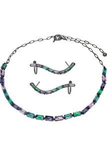 Conjunto Infine Choker E Brincos Ear Cuff Cristal Multicolorido Azul Verde Violeta E Rosa