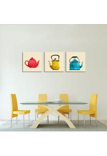 Conjunto De 3 Telas Decorativas Estilo Ilustração Chaleiras Chá - Montada: 40X126Cm (A-L) Unico