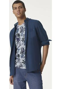 Camisa Masculina Básica Bordada Em Tecido De Algodão Hering