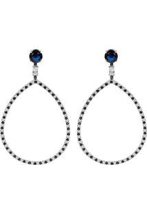 Brinco Longo Gota The Ring Boutique Pedra Cristal Azul Safira Ródio Ouro Branco - Tricae