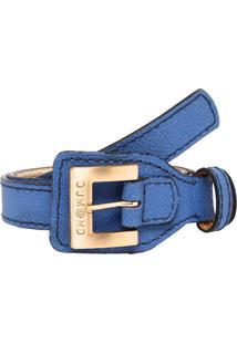 Cinto Couro Dumond Textura Azul