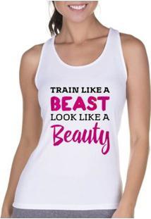 Regata Criativa Urbana Cavada Fitness Beauty - Feminino-Branco