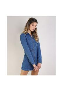 Vestido Jeans Feminino Curto Com Bolsos E Cinto Manga Longa Azul Médio