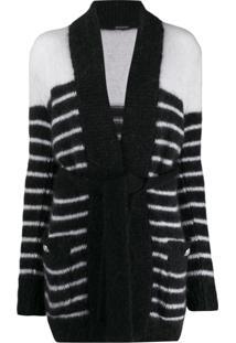 Balmain Casaco De Lã Listrado Com Cinto - Preto
