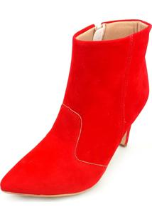 Bota Love Shoes Alto Cano Curto Bico Fino Recortes Nobuck Vermelho
