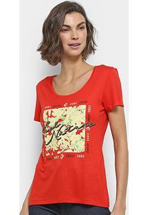 Camiseta Coca-Cola Estampada Feminina - Feminino-Vermelho