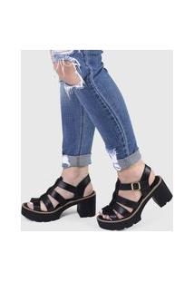 Sandália Três Tiras Salto Oxford Tratorado Sintético