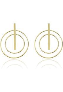 Brinco Piuka Acessórios Luly Geométrico Folheado A Ouro 18K Dourado