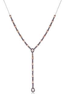 Colar Gravata Com Cristal Coral Cravejado Com Zircônias Lilás Banhado Em Ouro Rose 18K