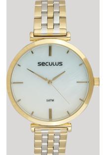 Relógio Analógico Seculus Feminino - 77040Lpskbs1 Dourado - Único