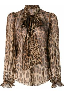 Dolce & Gabbana Blusa Animal Print Com Laço - Marrom