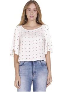 Blusa Areazul Estampada Feminina - Feminino-Branco