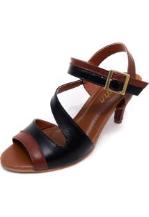Sandália Amora Calçados De Salto Em Couro Ive Preto Com Marrom - Kanui