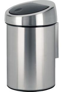 Lixeira Touch Bin- Inox & Preta- 28Xã˜18,5Cm- Spim.Cassab