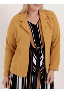Blazer Plus Size Autentique Feminino - Feminino-Amarelo