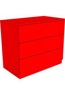Cômoda Vermelho Flash Eugênia 3 Gavetas Listras Horizontais - Orb