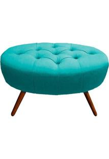 Puff Classic Oval Pés Palito Capitonê Suede Azul Tiffany - D'Rossi