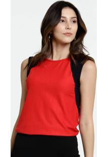 Blusa Feminina Bicolor Sem Manga Marisa