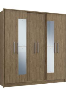 Guarda-Roupa Casal 6 Portas C/ Espelho 3 Gavetas Diamante Decibal Moveis Wood