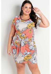 Vestido Floral Laranja Com Amarração Plus Size