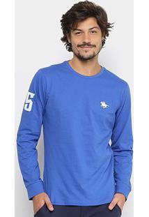 Camiseta Rg 518 Básica Manga Longa Com Bordado Masculina - Masculino-Azul Royal